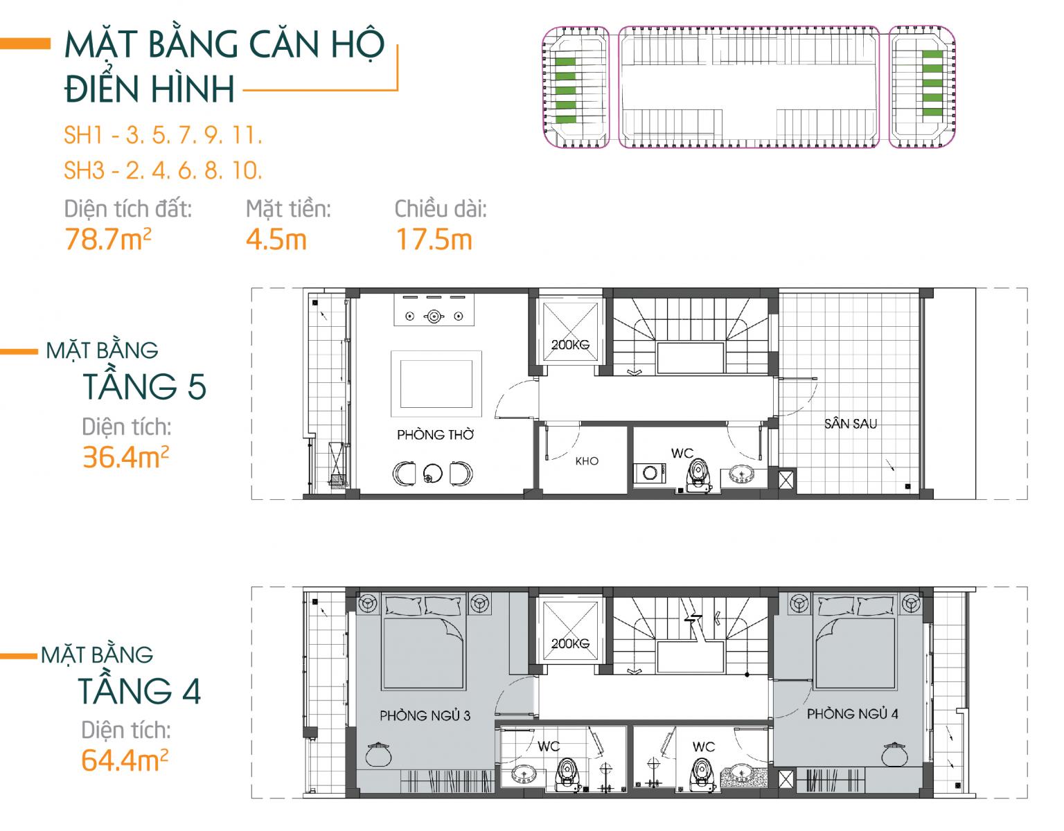 thiết kế căn hộ 78m2